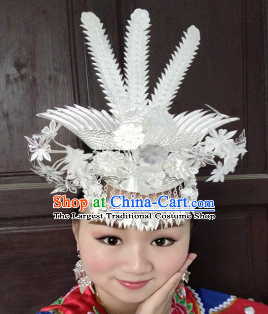 Chinese Traditional Ethnic Wedding Sliver Phoenix Coronet Hair Accessories Miao Nationality Bride Hairpins for Women