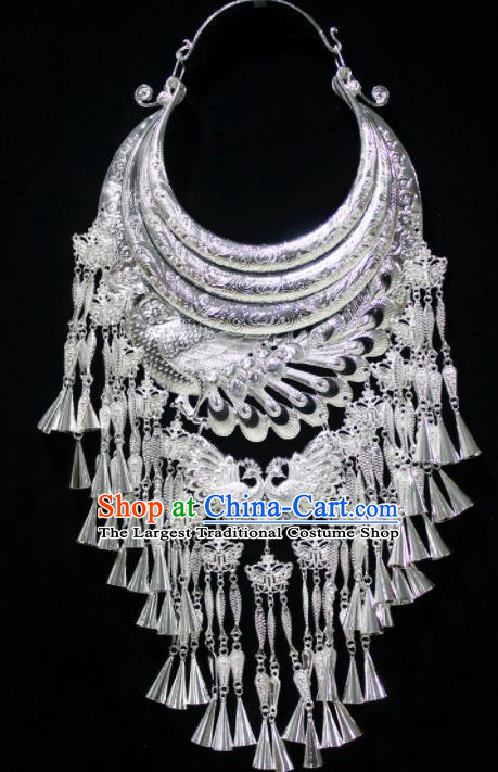 Chinese Traditional Miao Nationality Wedding Necklet Hmong Bride Sliver Carving Necklace for Women