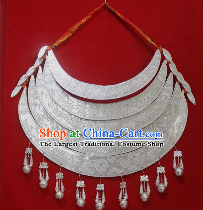 Chinese Traditional Miao Nationality Wedding Sliver Necklet Hmong Bride Necklace for Women