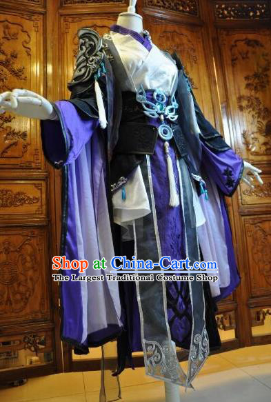 Chinese Traditional Cosplay Heroine Female Knight Costume Ancient Swordswoman Black Dress for Women