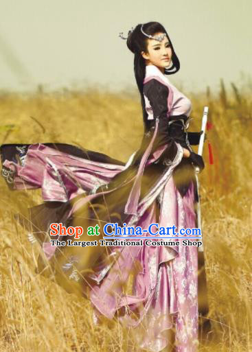 Chinese Traditional Cosplay Heroine Peri Princess Costume Ancient Swordswoman Dress for Women
