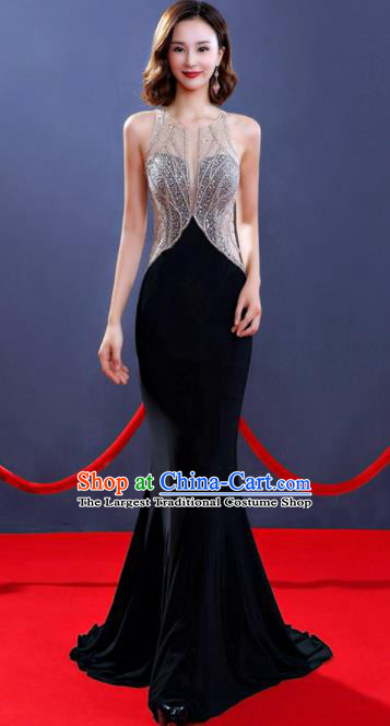 Professional Top Grade Diamante Black Full Dress Modern Dance Stage Performance Compere Costume for Women
