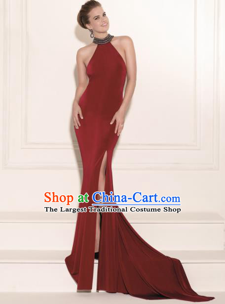 Professional Compere Costume Wine Red Full Dress Top Grade Modern Dance Princess Wedding Dress for Women