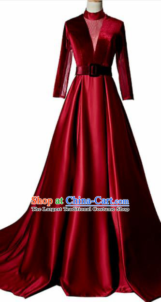 Professional Compere Costume Wine Red Trailing Full Dress Modern Dance Princess Wedding Dress for Women