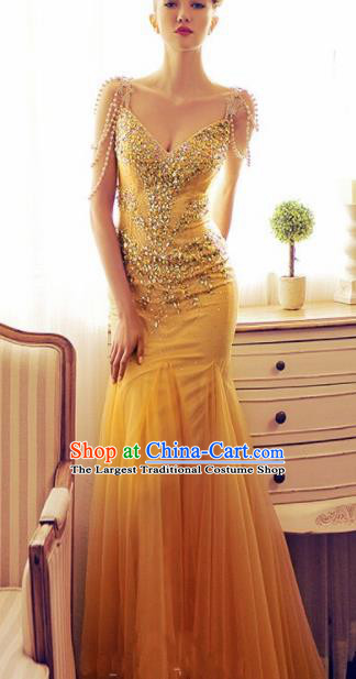 Top Grade Catwalks Yellow Veil Evening Dress Compere Modern Fancywork Costume for Women