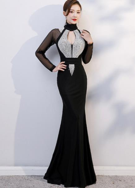 Top Grade Catwalks Crystal Black Evening Dress Compere Modern Fancywork Costume for Women