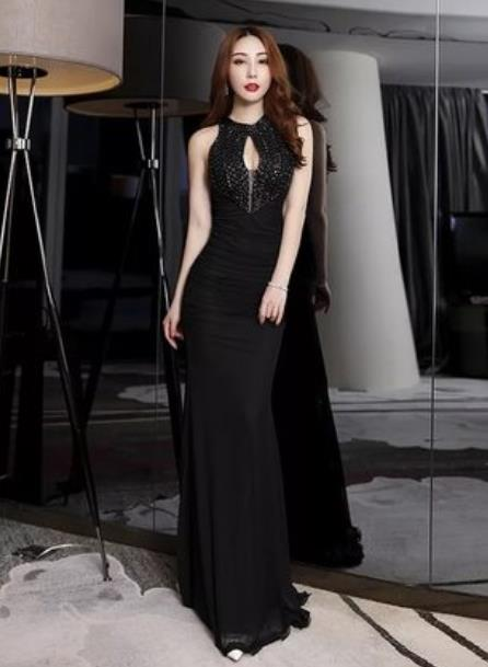 Top Grade Catwalks Evening Dress Compere Modern Fancywork Costume for Women