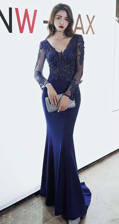 Top Grade Catwalks Royal Blue Evening Dress Compere Modern Fancywork Costume for Women
