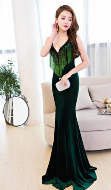 Top Grade Catwalks Green Velvet Evening Dress Compere Modern Fancywork Costume for Women