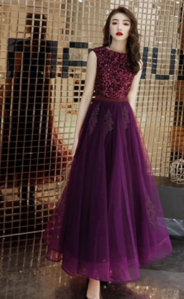 Top Grade Catwalks Purple Lace Evening Dress Compere Modern Fancywork Costume for Women