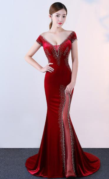 Top Grade Modern Fancywork Wine Red Velvet Formal Dress Compere Catwalks Costume for Women