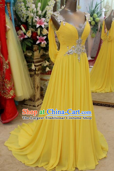 Top Grade Modern Fancywork Yellow Veil Formal Dress Compere Catwalks Costume for Women