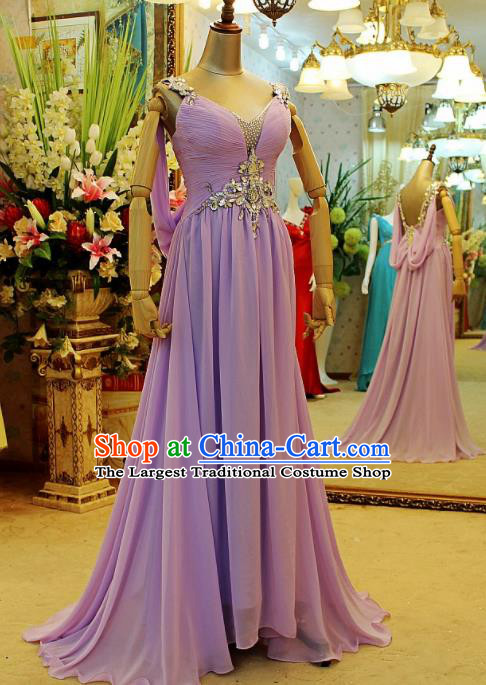 Top Grade Modern Fancywork Purple Veil Formal Dress Compere Catwalks Costume for Women