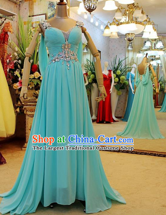 Top Grade Modern Fancywork Blue Veil Formal Dress Compere Catwalks Costume for Women