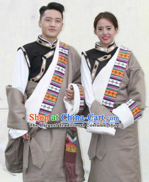 Chinese Traditional Tibetan Bride and Bridegroom Grey Robes Zang Nationality Heishui Dance Ethnic Costumes for Women for Men