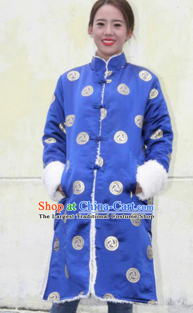 Chinese Traditional Tibetan Ethnic Royalblue Dust Coat Zang Nationality Heishui Dance Costume for Women