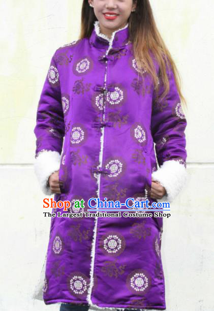Chinese Traditional Tibetan Ethnic Purple Dust Coat Zang Nationality Heishui Dance Costume for Women