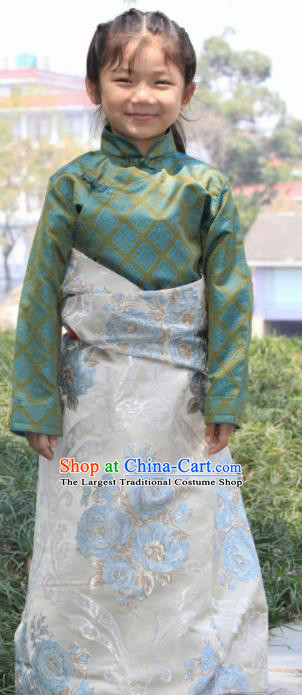 Chinese Traditional Tibetan Children White Robe Zang Nationality Heishui Dance Ethnic Costumes for Kids