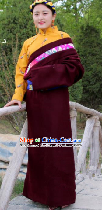 Chinese Traditional National Ethnic Wine Red Tibetan Robe Zang Nationality Costume for Women