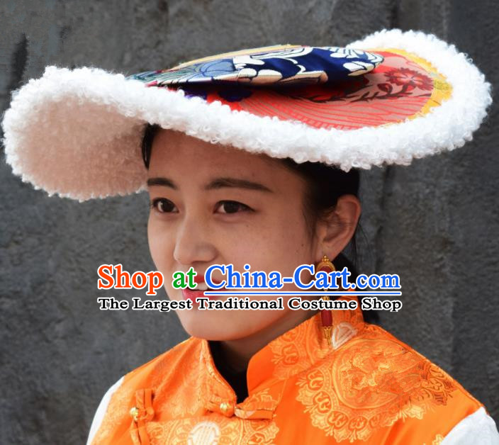 Chinese Traditional Ethnic Tibetan Hair Accessories Zang Nationality National Hat for Women