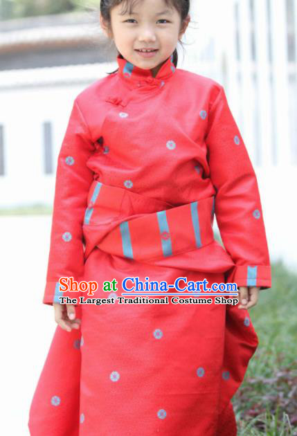 Chinese Traditional Tibetan Children Red Robe Zang Nationality Heishui Dance Ethnic Costumes for Kids