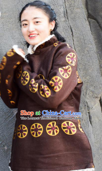 Chinese Traditional Tibetan National Ethnic Brown Cotton Padded Jacket Zang Nationality Costume for Women