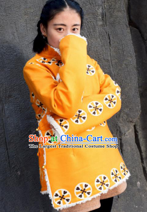 Chinese Traditional Tibetan National Ethnic Yellow Cotton Padded Jacket Zang Nationality Costume for Women
