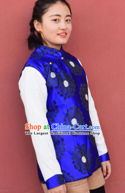 Chinese Traditional Tibetan National Ethnic Royalblue Vest Zang Nationality Costume for Women