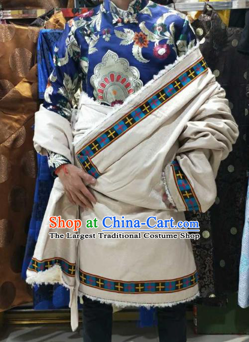 Chinese Traditional National White Tibetan Robe Zang Nationality Ethnic Folk Dance Costume for Men