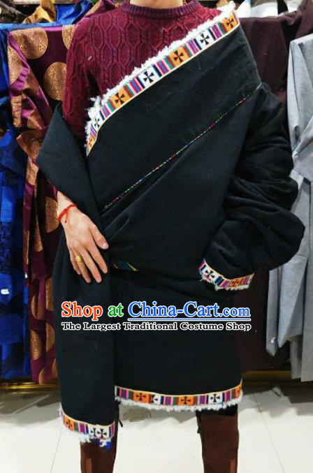 Chinese Traditional National Black Tibetan Robe Zang Nationality Ethnic Folk Dance Costume for Men