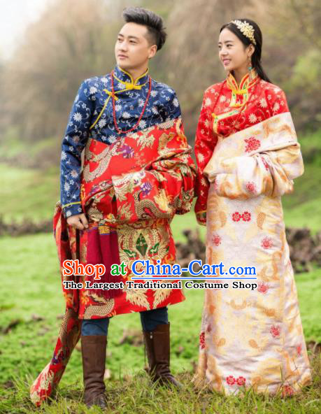 Chinese Traditional Tibetan Bride and Bridegroom Brocade Robes Zang Nationality Wedding Ethnic Costumes for Women for Men