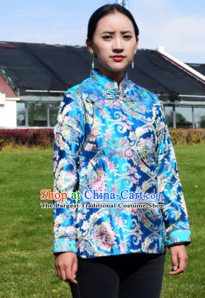 Chinese Traditional Tibetan National Ethnic Blue Brocade Blouse Zang Nationality Costume for Women