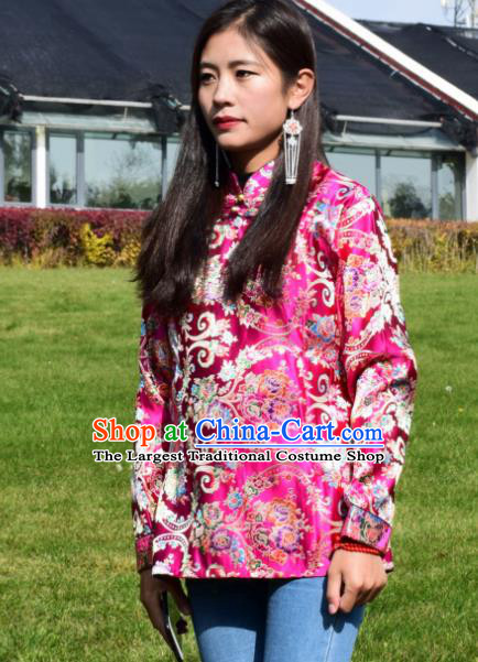 Chinese Traditional Tibetan National Ethnic Rosy Brocade Blouse Zang Nationality Costume for Women