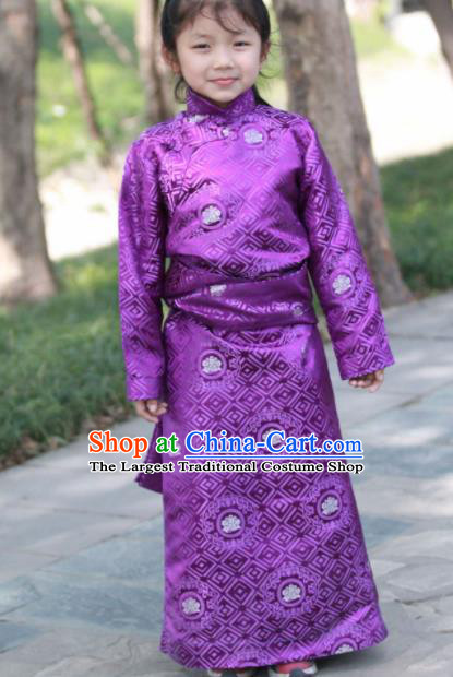 Chinese Traditional Tibetan Children Purple Robe Zang Nationality Heishui Dance Ethnic Costumes for Kids