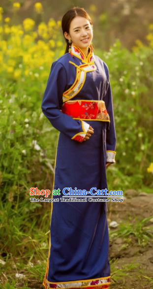 Chinese Traditional Tibetan Ethnic Female Navy Dress Zang Nationality Heishui Dance Costume for Women