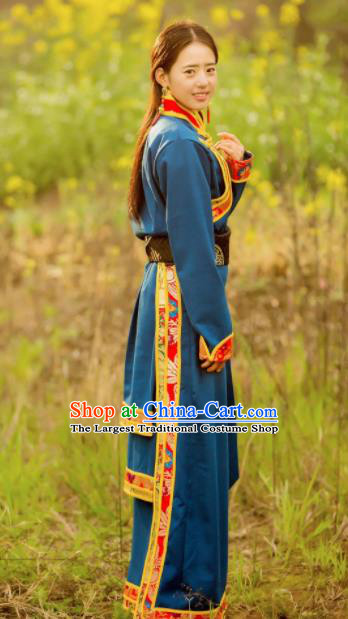 Chinese Traditional Tibetan Ethnic Female Blue Dress Zang Nationality Heishui Dance Costume for Women