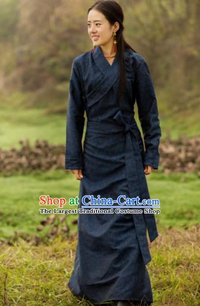 Chinese Traditional Tibetan Ethnic Female Deep Blue Dress Zang Nationality Heishui Dance Costume for Women