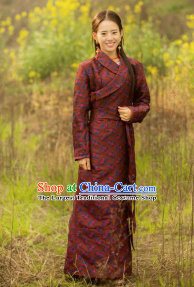Chinese Traditional Tibetan Ethnic Female Printing Wine Red Dress Zang Nationality Heishui Dance Costume for Women