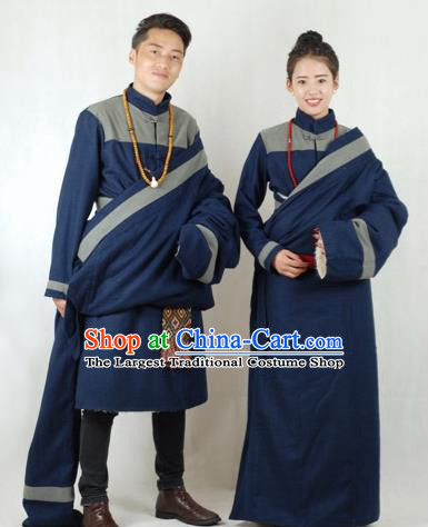 Chinese Traditional Tibetan Bride and Bridegroom Navy Robes Zang Nationality Wedding Ethnic Costumes for Women for Men