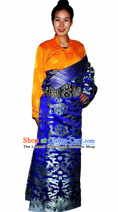 Chinese Traditional Tibetan National Ethnic Royalblue Brocade Robe Zang Nationality Costume for Women