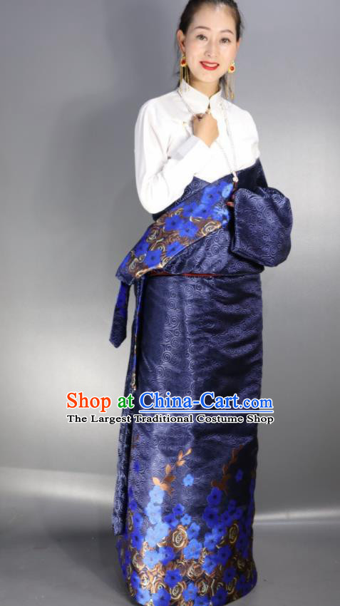 Chinese Traditional Tibetan National Ethnic Navy Robe Zang Nationality Wedding Costume for Women