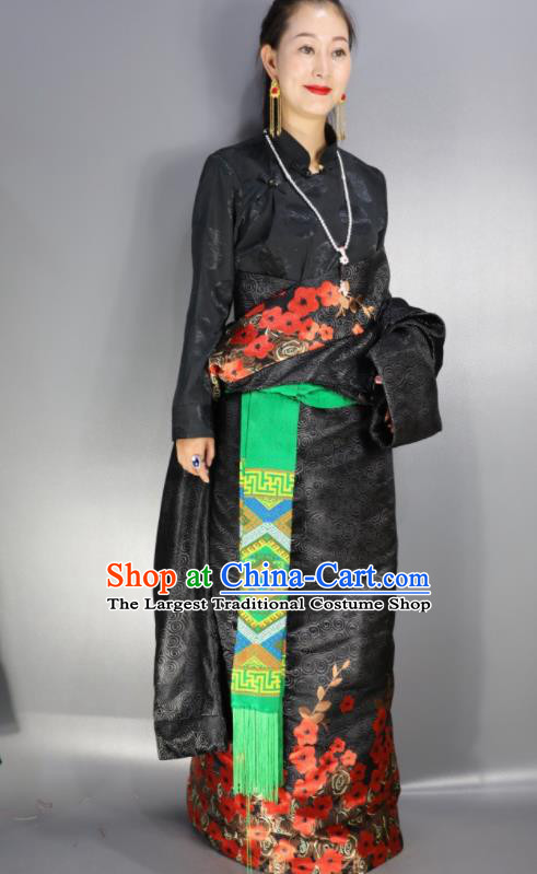 Chinese Traditional Tibetan National Ethnic Black Robe Zang Nationality Wedding Costume for Women