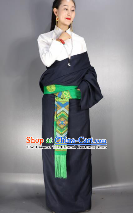 Chinese Traditional National Ethnic Navy Tibetan Robe Zang Nationality Folk Dance Costume for Women