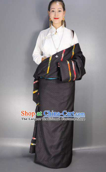 Chinese Traditional National Ethnic Black Tibetan Robe Zang Nationality Folk Dance Costume for Women