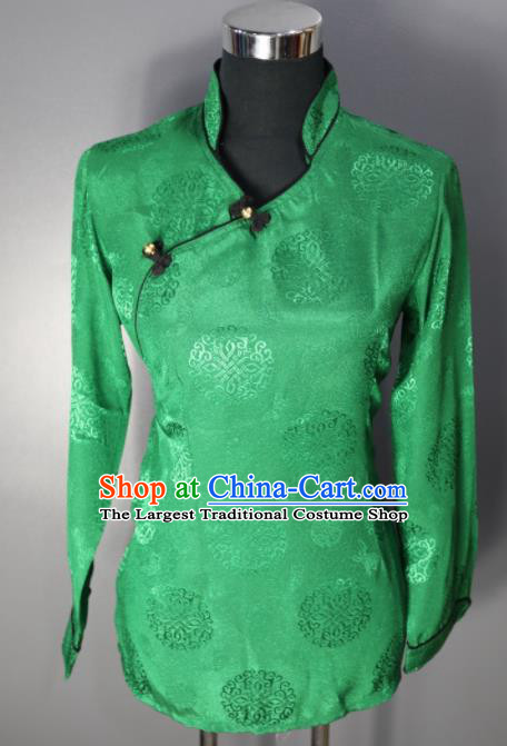 Chinese Traditional National Ethnic Tibetan Green Blouse Zang Nationality Folk Dance Costume for Women