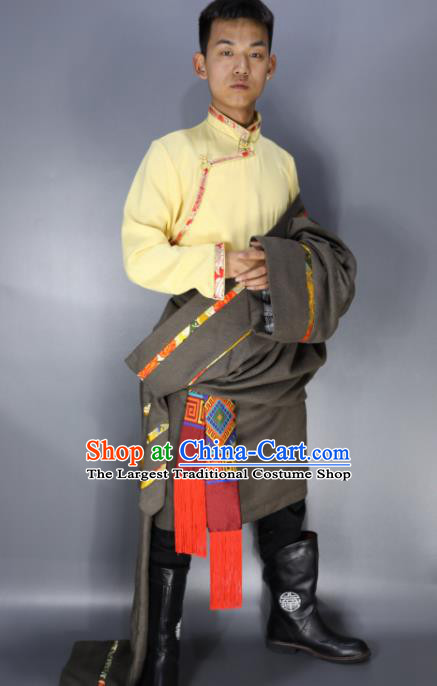 Traditional Chinese National Bride Ethnic Grey Tibetan Robe Zang Nationality Folk Dance Costumes for Men