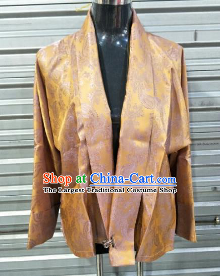Traditional Chinese National Ethnic Tibetan Golden Shirt Zang Nationality Folk Dance Costumes for Men