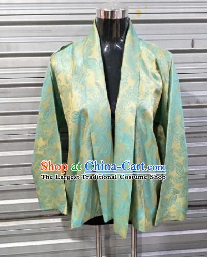 Traditional Chinese National Ethnic Tibetan Green Shirt Zang Nationality Folk Dance Costumes for Men