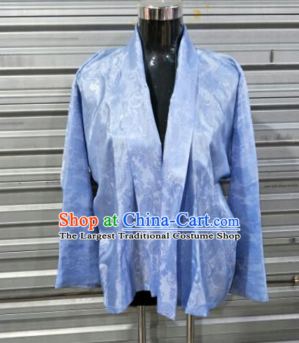 Traditional Chinese National Ethnic Tibetan Light Blue Shirt Zang Nationality Folk Dance Costumes for Men