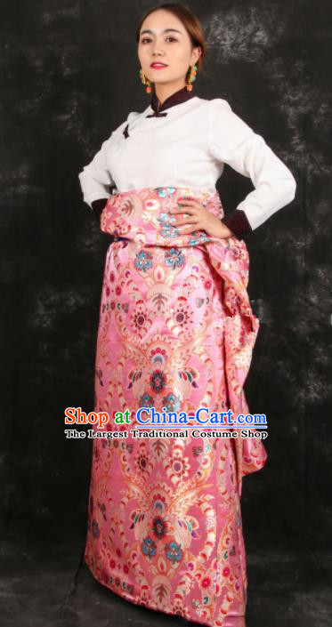 Chinese Traditional Tibetan Ethnic Bride Pink Brocade Robe Zang Nationality Heishui Dance Costume for Women
